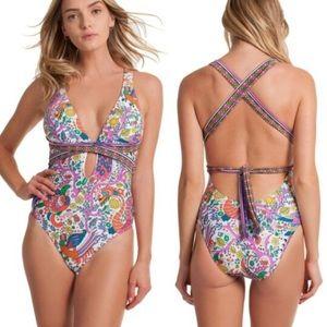 Trina Turk Jungle Beach Paisley Cross Back bikini